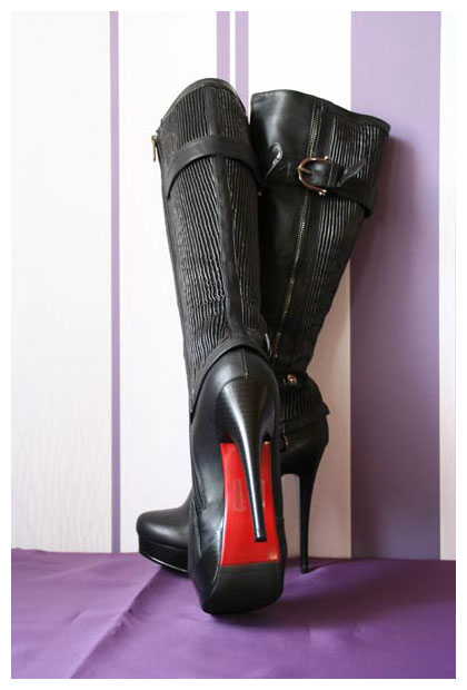 plateaustiefel gr 41 schwarze high heels stiefel mit roter sohle 2261 neu ebay. Black Bedroom Furniture Sets. Home Design Ideas