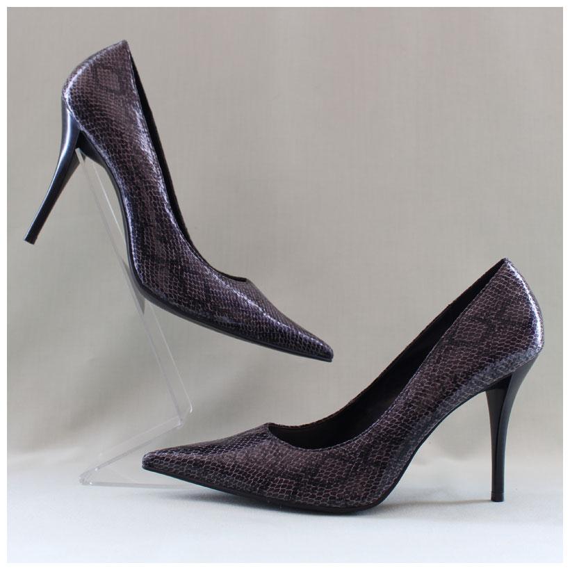 high heels pumps in reptillederoptik grau spitz 1170705. Black Bedroom Furniture Sets. Home Design Ideas